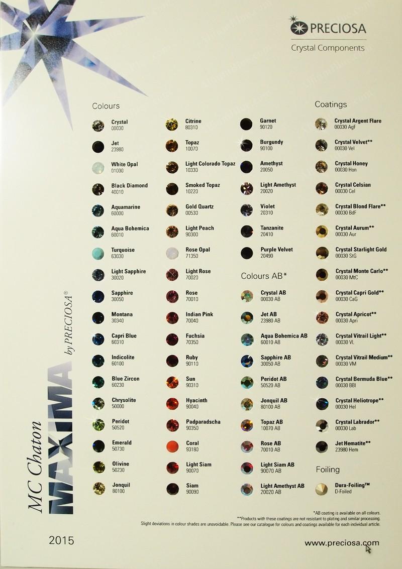 Online color chart - Preciosa Color Chart
