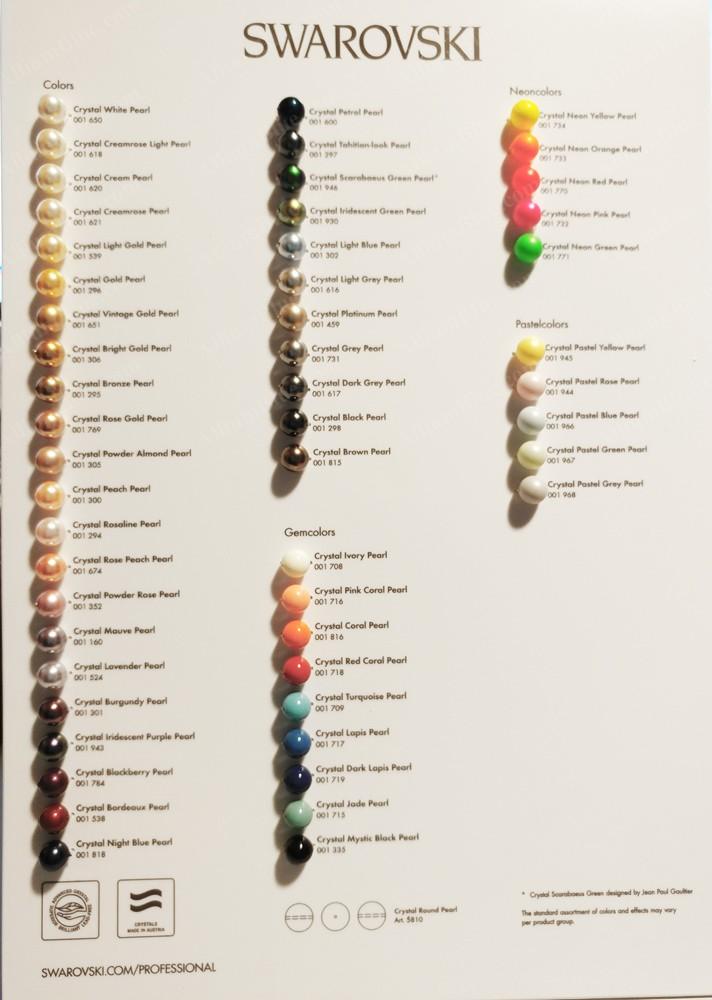 Swarovski Crystal Pearls Color Chart